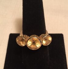 """RAY GRIFFITHS 18K RING SIZE 8, 3 CITRINE JEWELS, """"CROWNWORK"""" SETTING, $2,740!"""