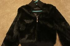 Black casual Real rabbit fur ladies zip jacket size S, Uk 6-8-10. RRP £600.0