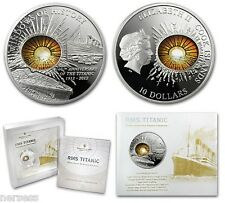 Cook Islands 2012 TITANIC 100th Anniv 2 Oz $10 Proof Silver Coin Glass Insert