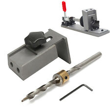 Set of Pocket Hole Jig Drilling Position System +Step Drill Bit Woodworking Tool