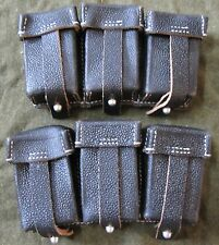 WWII GERMAN ARMY HEER WAFFEN K98 98K RIFLE AMMO POUCHES, PAIR-BLACK LEATHER