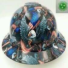 FULL BRIM Hard Hat custom hydro dipped , NEW AMERICAN EAGLE USA OSHA APPROVED