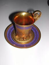 Antique Porcelain Coffee Cup & Saucer, Gold & Navy, 1921 DW Karlsbader, Germany