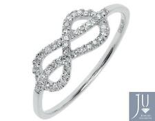 10k White Gold Ladies Pave Diamond Infinity Knot Fashion Promise Band Ring 1/6ct
