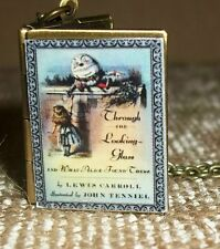 New Alice Through the Looking Glass Charm Book Cover LOCKET Necklace