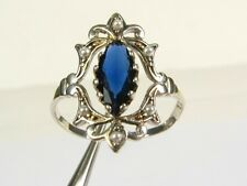 .50ct Lab Blue Sapphire & Seed Pearl Victorian Deco Sterling Filigree Ring 102b