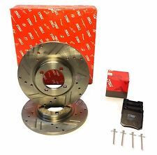 Pair New Drilled Slotted Brake Rotors Triumph Spitfire TRW + Ceramic Pads + Pins