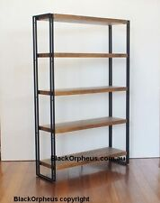 Industrial Bookcase, Ironstone, W100xD30xH150, Metal Timber Look, Shelves.