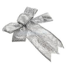Silver Glitter Ribbon Bow Tree Top Topper Xmas Party Decor Shiny Ornament