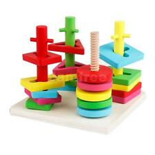 Wooden Geometric Stacking Shape Matching Toy w/ 4 Pillars Baby kids Activity