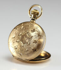 Solid 14k Gold Elgin Hunter Case Pocket Watch - hand engraved stars and flowers