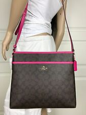 COACH BROWN BLACK SIGNATURE PINK LEATHER CROSSBODY SHOULDER HANDBAG BAG PURSE