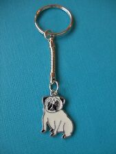 Pug Dog Charm Keyring Puppy Metal Bag Key Ring Fawn Enamelled