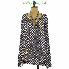NWOT MICHAEL KORS HAYLARD DOGTOOTH (HOUNDSTOOTH) CHAINED TUNIC NAVY TOP 1X B41