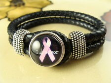 PINK AWARENESS BREAST CANCER SNAP BUTTON on Black leather braided bracelet