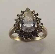 925 STERLING SILVER CZ CUBIC ZIRCONIA PEAR SURROUNDED BY ROUND CZS RING SZ 6 RT8