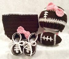 Crochet Baby Girl FOOTBALL Theme OUTFIT. Reborn Photo Prop COSTUME 0-3 Month.USA