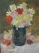 Emil Zimmermann uraltes Ölgemälde Gemälde Stillleben Blumen Vase