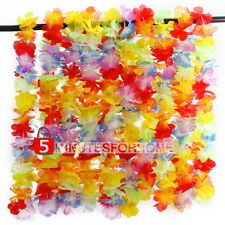 10 pcs Hawaiian Beach Luau Party Necklace Flower Garland Lei Leis Colorful Deco