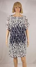 SL Fashions Size 12 Navy Blue White Circle Dot Print Boat Neck Blouson Dress NEW