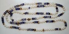 14K YELLOW GOLD BEAD IOLITE & FRESHWATER PEARL NECKLACE 21.9 GR 30 INCH SN7