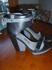 TSUBO Black Leather Ankle lace up and strap platform modern tall #8243 sz 9