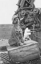 WWII B&W Photo German Dog and 88mm Gun World War Two Germany  WW2 / 2144