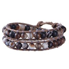 KELITCH 2 wrap bracelet Silk Agate Bead Chain Charm Bangle Friendship Men Cuff