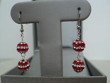 SHAMBALLA CRYSTAL BEADS 2 COLOR SILVER EARRINGS (WHITE/ RED)