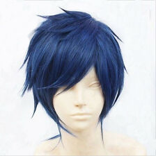 Anime Dark Blue Black Fashion Hair Wigs Cosplay Short Cool Men Hair Boy Wigs+Cap