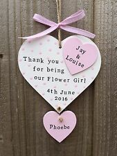 Personalised Wooden Plaque Sign Heart Wedding Bridesmaid Thank you Gift Present