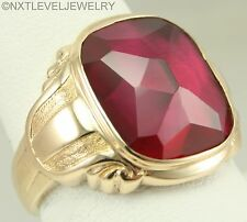 Antique Art Deco LARGE 12ct Faceted Top Cushion Ruby 10k Solid Gold Men's Ring