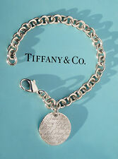 Tiffany & Co Sterling Silver Notes Fifth Avenue Round Tag Bracelet