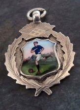 Attrayant vintage sterling silver & émail football médaille fob pendentif h/m 1933