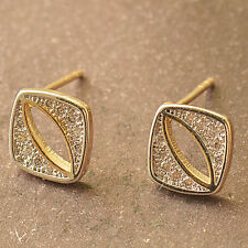 Cute New 9K Yellow & White Gold Filled 2 Tone CZ Modern Style Stud Post Earrings