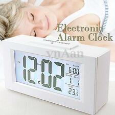 Large Digital Snooze Alarm Clock Date Thermometer LED Backlight Time LCD Display