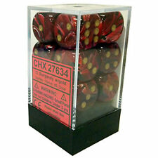 Chessex Dice d6 Set 16mm Vortex Burgundy w/ Gold 6 Sided Die 12 Sets CHX 27634