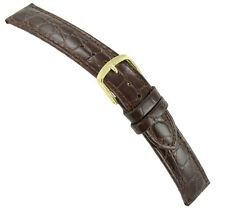19mm Hadley Roma Genuine Leather Crocodile Grain Brown Watch Band Regular MS717