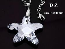 c002261 Faceted Crystal Glass Clear Starfish Silver Bead Pendant Necklace Chain