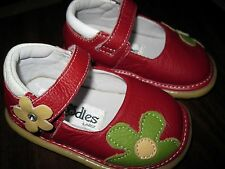 EUC Girls Pedoodles Red w/ Flower Mary Jane Style Shoes Size Large 12-18 months