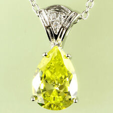 Green Amethyst White Gemstones Jewellry Women Silver Necklace Pendant Free Ship