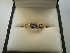 Pink Tanzanite VERY RARE & Zircon 9K Yellow Gold Ring Size N