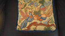 "NEEDLEPOINT PILLOW VINTAGE BIRDS BLUES 14""x 14"" SILK ? BACK WITH GATHERED EDGES"