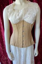 KHAKI COTTON STEEL BONED CORSET LONG LINE UNDERBUST SIZE 24 (Fits 28-31 Waist) B