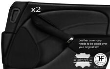 BLACK STITCH 2X FRONT DOOR CARD TRIM LEATHER COVERS FOR ROVER 75 & MG ZT 99-05