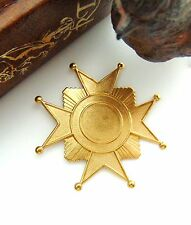 CLOSEOUT SALE BRASS Art Deco Star Cross Badge Stampings - Findings (FB-6094) `