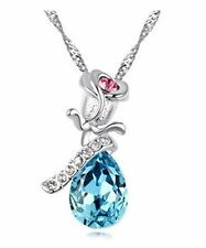 Free shipping Womens 9K White Gold Filled AAA CZ Crystal Necklace & Pendant Q16