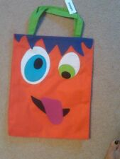 NWT OLD NAVY ORANGE CANVAS TRICK OR TREAT BAG WITH HANDLES 12 X 15""