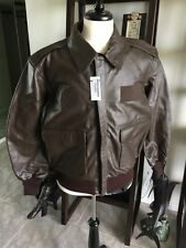 Excelled DLA A-2 Brown Flight USAF Bomber Leather Goatskin Jacket Sz 46R New!