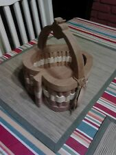 Wood basket, multi-wood, boutique item, hand-crafted, lovely piece! Apple shape.